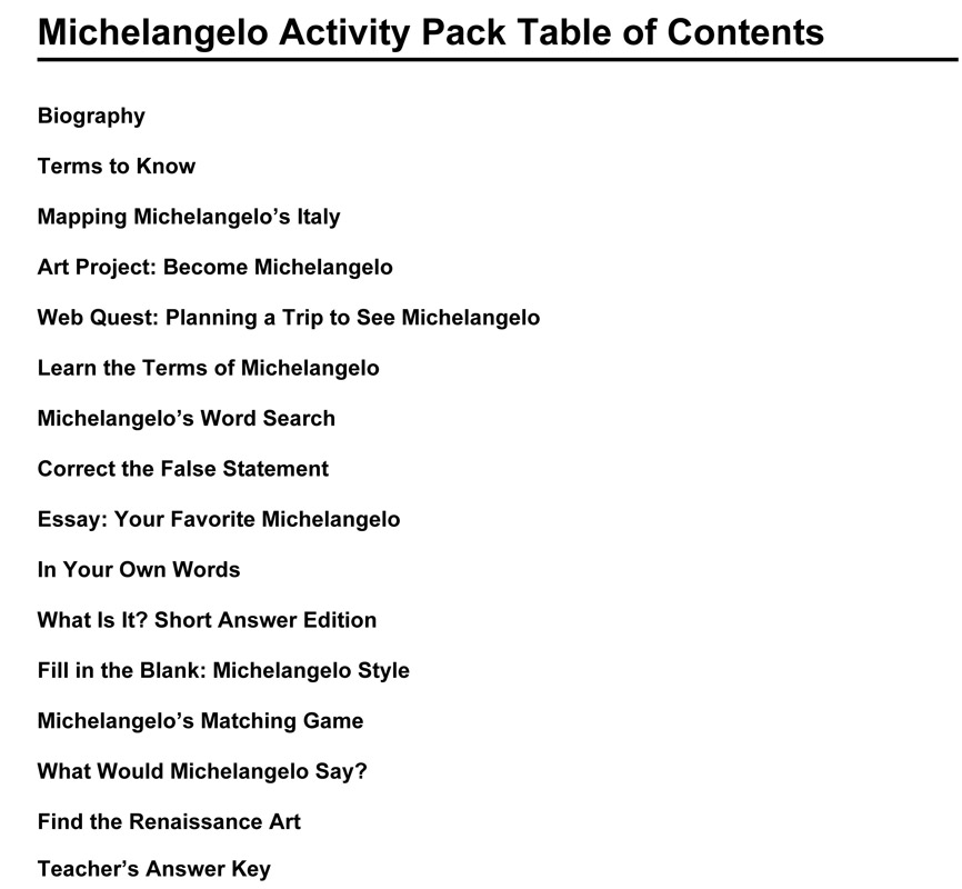 michelangelo activity packet traveling exhibits for  michelangelo activity packet